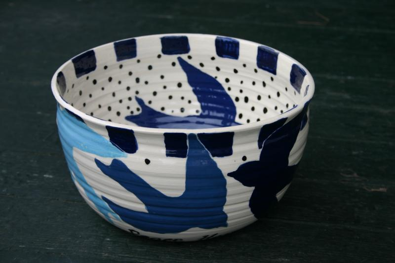 large swalloware bowl first glaze fire