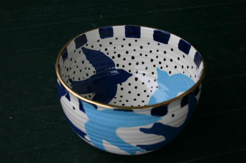 large swalloware bowl with second luster fire of gold